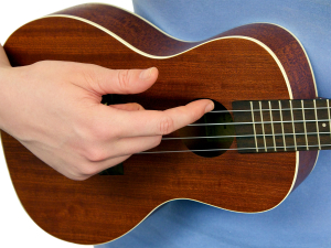 Right Hand Strumming the Ukulele with Your Index finger