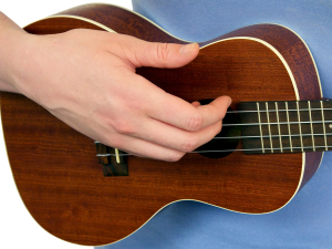 Right Hand strumming the Ukulele with Your fingers