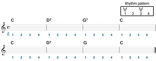 easy guitar chords - Aura Lee Rhythm Guitar Score