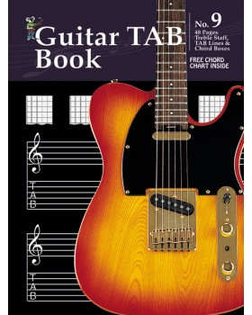 Progressive Manuscript Book 9 - Guitar TAB Book - Music Staff Paper