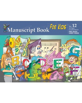 Progressive Manuscript Book 12 - Giant Staves for Kids - Music Staff Paper