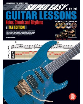 Super Easy Guitar Lessons - Notes, Chords & Rhythms with TAB - Teach Yourself How to Play Guitar