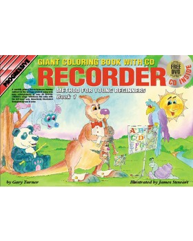 Progressive Recorder Method for Young Beginners - Book 1 (Giant Coloring Book) - How to Play Recorder for Kids
