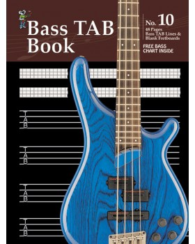 Progressive Manuscript Book 10 - Bass TAB Book - Music Staff Paper