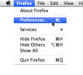 Mozilla Firefox: Preferences Menu