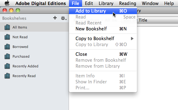 Adobe Digital Editions: Add to Library