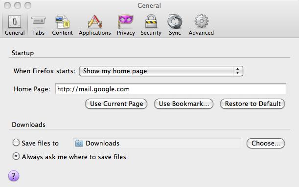 Mozilla Firefox: General Tab