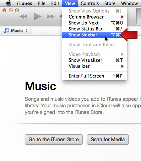 iTunes: Show Sidebar