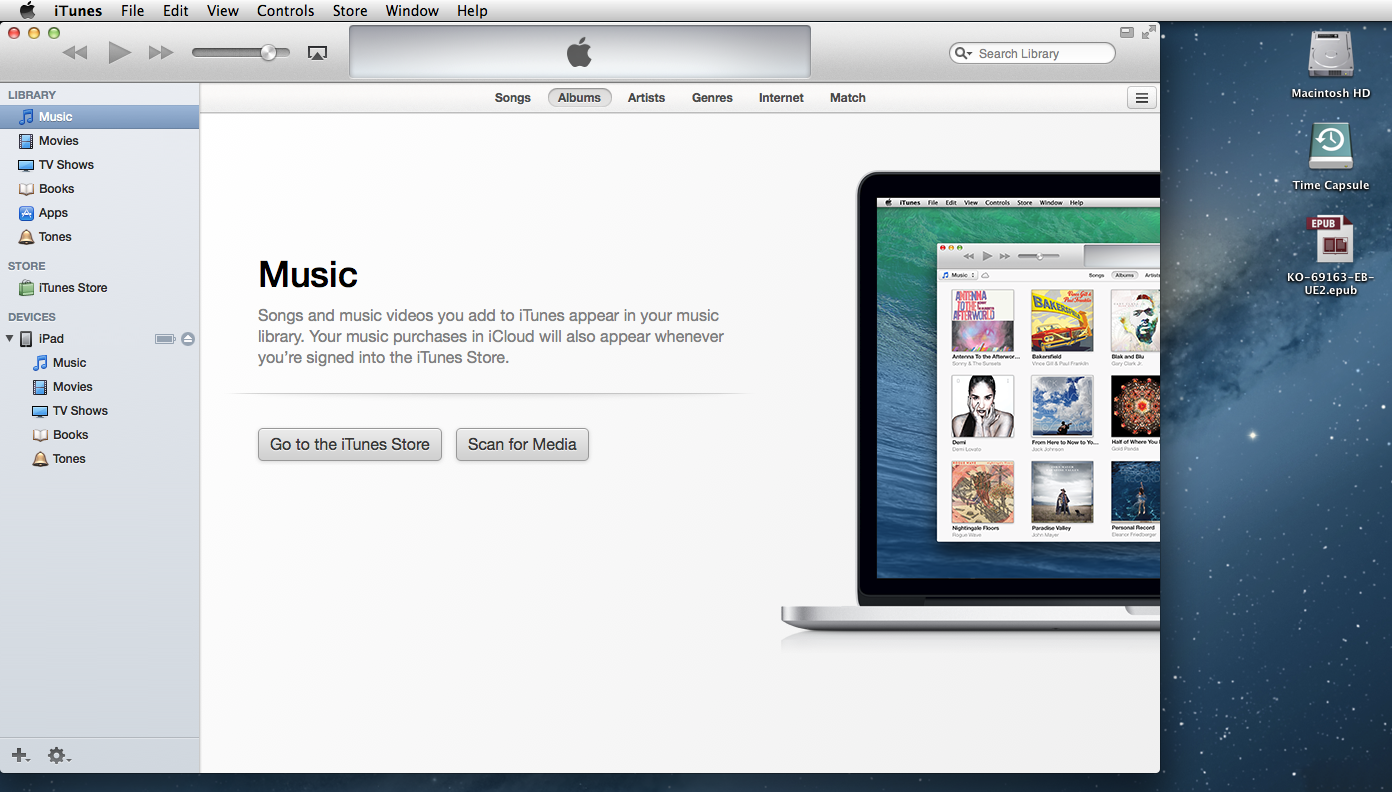 Mac iTunes and .epub file on Desktop